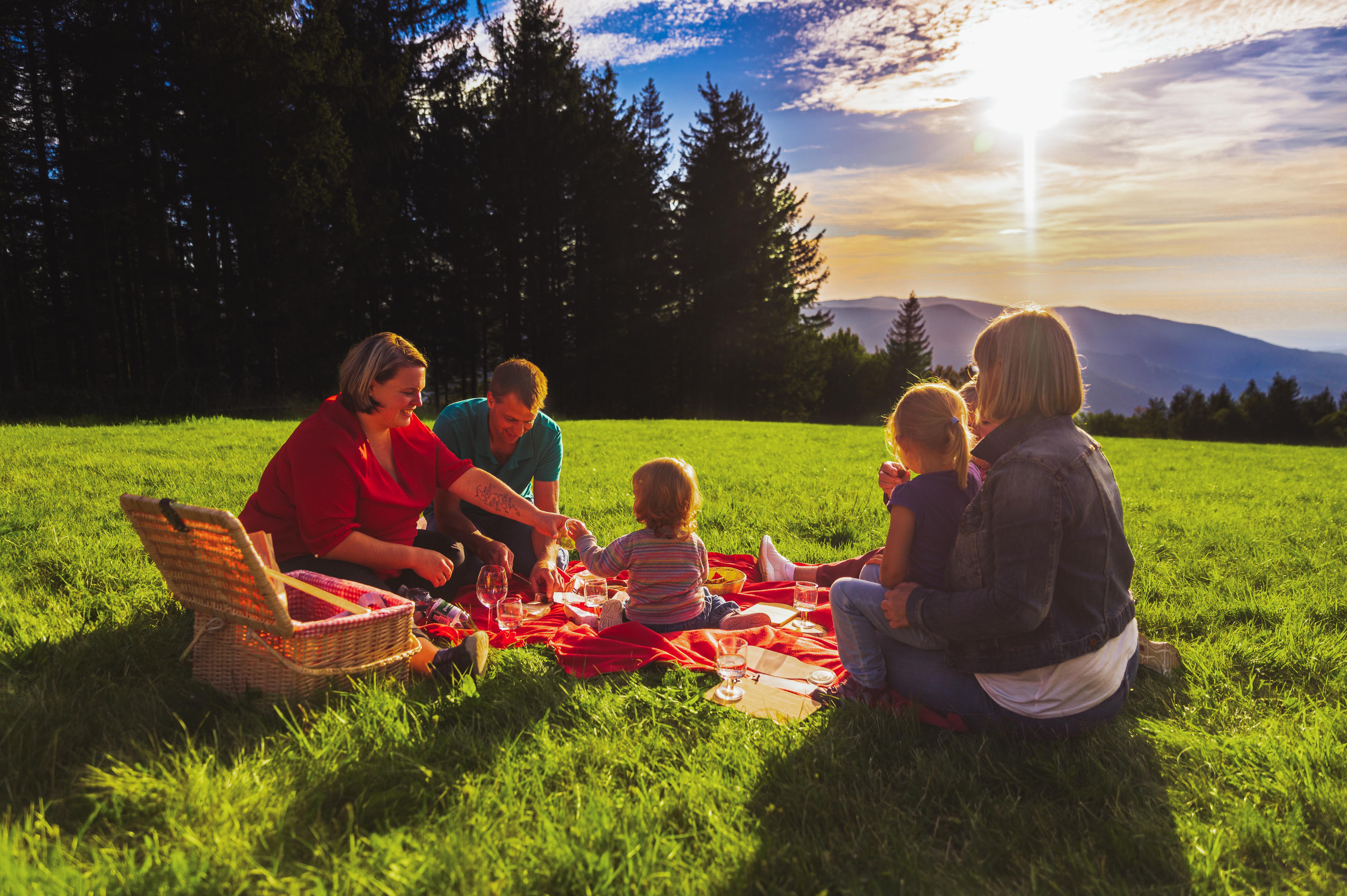 Picknick mit der Familie am Brend