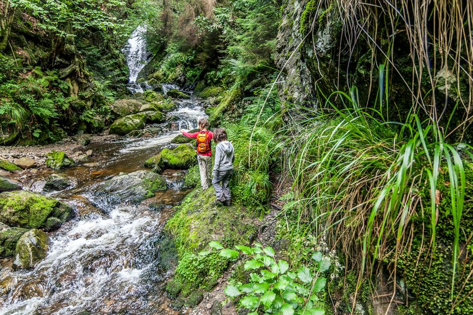 Der schmale Wanderweg schlängelt sich an der Steilwand entlang