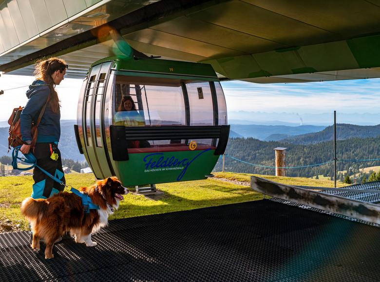 Spaziergängerin mit Hund vor einer Gondel der Feldbergbahn