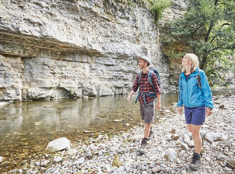 Die Felsen in der Wutachschlucht bestehen zum Großteil aus Muschelkalk. Kaum zu glauben, dass der Hochschwarzwald mal den Grund eines Meeres bildete.
