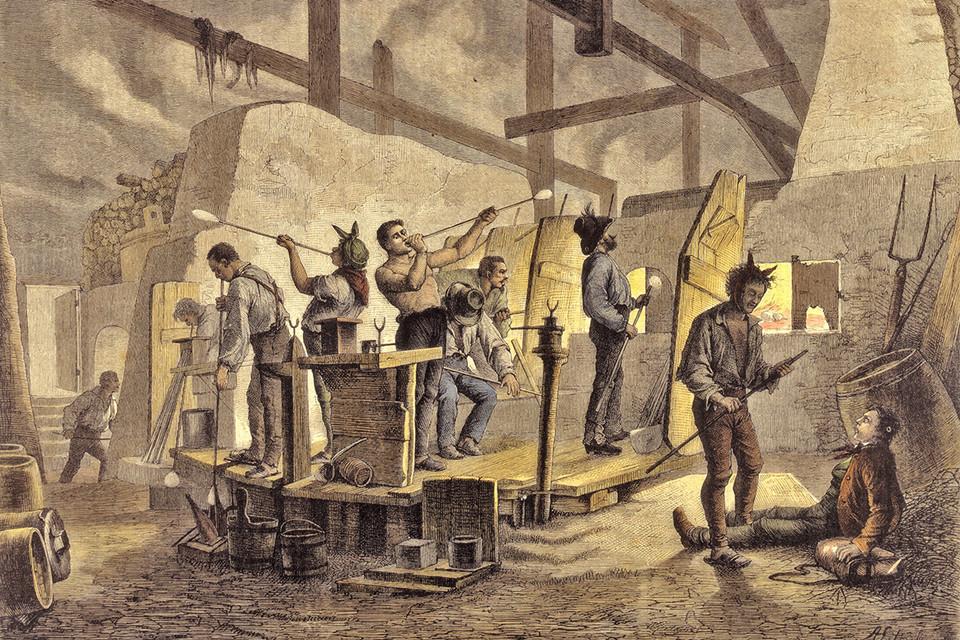 So arbeiteten die Glasbläser einst in der ehemaligen Glashütte in Äule.