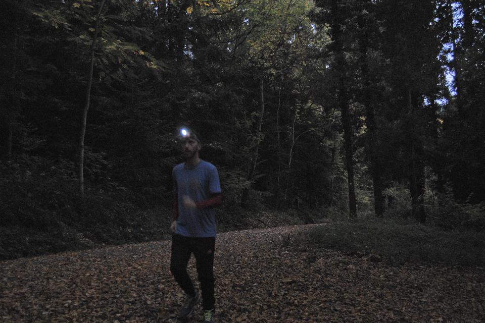Sportliche Aktivitäten im Wald bei Dämmerung