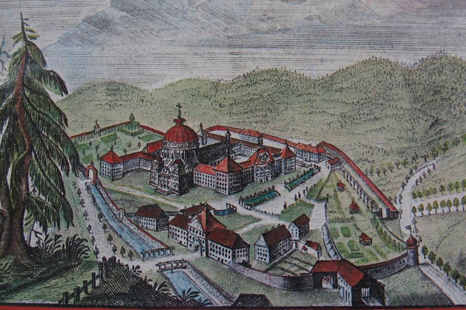 Kupferstich Kloster und Dom