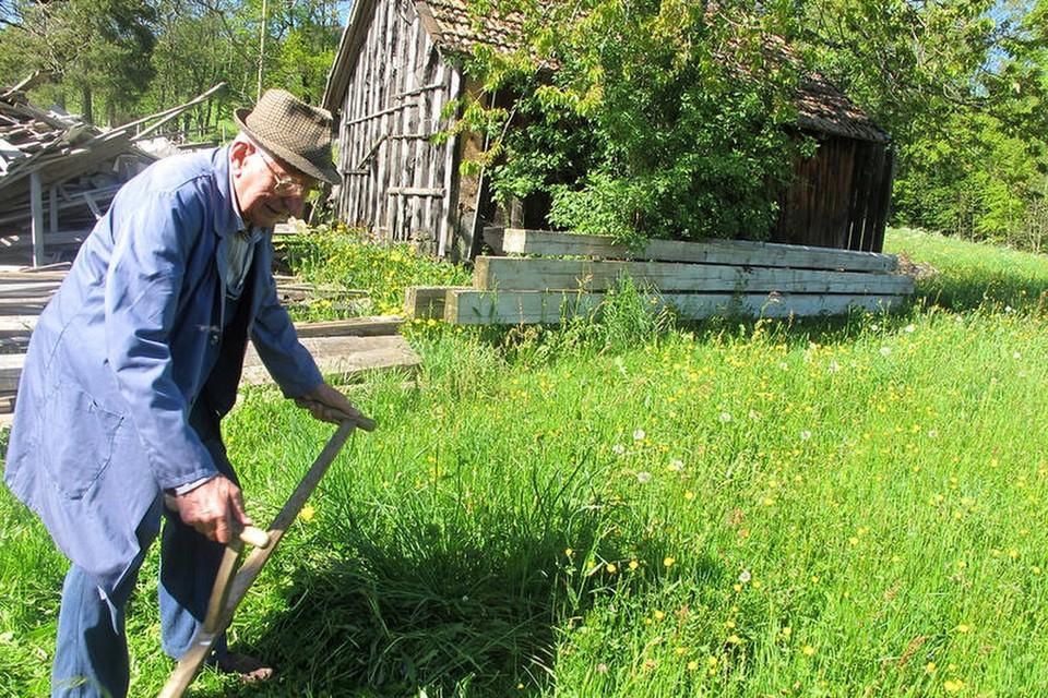 Swusch, swusch, swusch, mit ausladenden Bewegungen mäht Oskar Hummel das Gras.