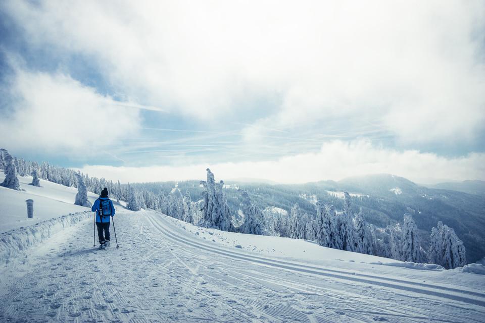 Schneeschuhwandern in der verschneiten Winterlandschaft ist pure Entschleunigung.
