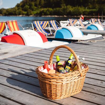 Picknick auf dem Tretboot