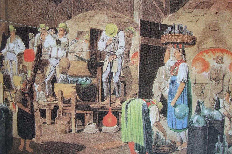 Eine Glashütte in Äule um 1820. damals brummte die Produktion, die Werkstätten waren wichtige Arbeitgeber in der Region.