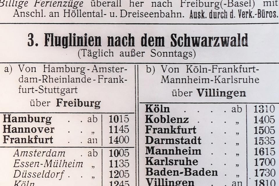 Ab Juni 1926 fliegt die Lufthansa (damals Deutsche Luft Hansa AG) täglich außer sonntags nach Freiburg in den Schwarzwald.