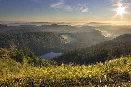 Stimmungsvolle Aussicht vom Feldberg auf den Feldsee