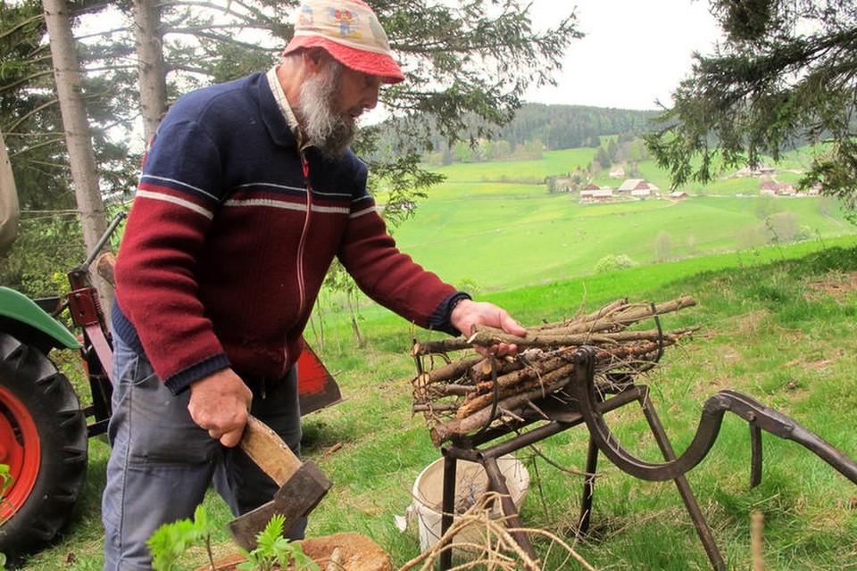 Mit geübten Griffen kürzt er das Holz und schlägt mit der Axt Seitenäste ab.